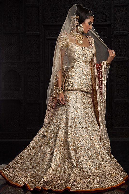 Tarun Tahiliani cream bridal lehenga choli- 2600$ USD- http://www.gujaratidresses.com/tarun-tahiliani-bridal-lengha-choli/