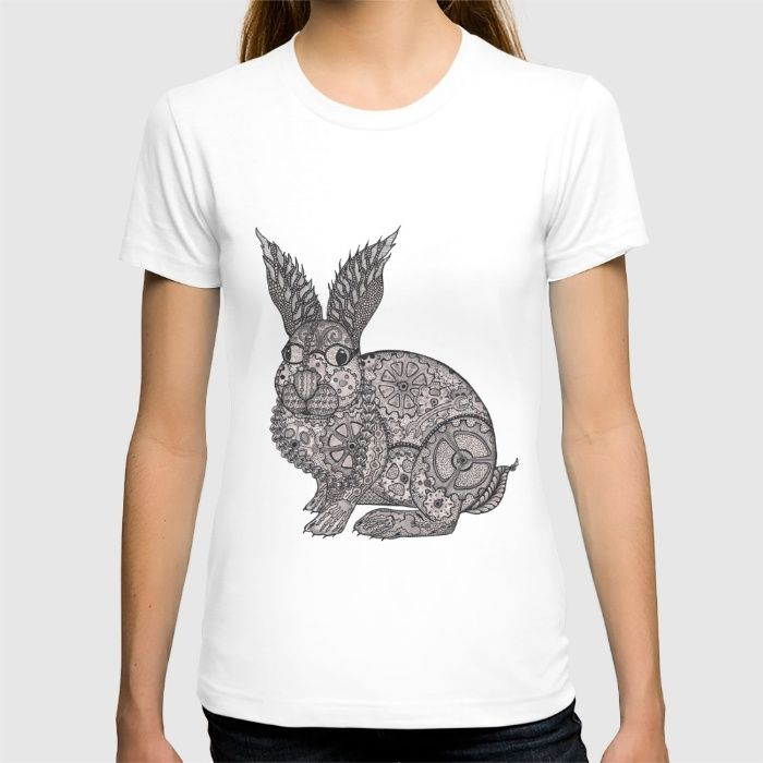Tangled Steampunk Rabbit T-shirt by Cherry Creative Designs on society6