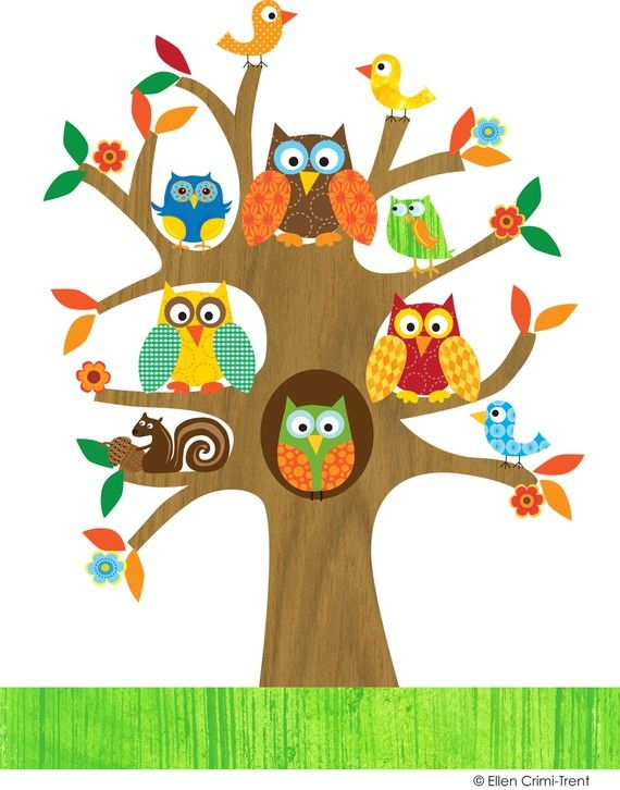 Kids Wall Art-Owls and Birds in a Tree- Illustration
