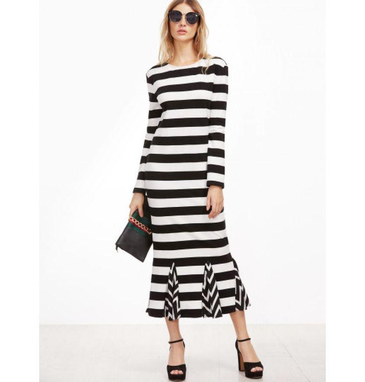 Gestreiftes Kleid 2017 Schwarz und Weiß