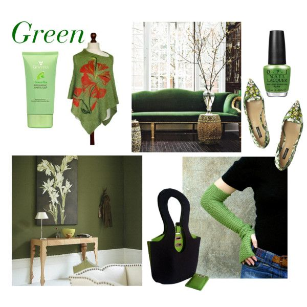 Green by mdrozd on Polyvore featuring moda, Dolce&Gabbana, OPI, House & Home and modern