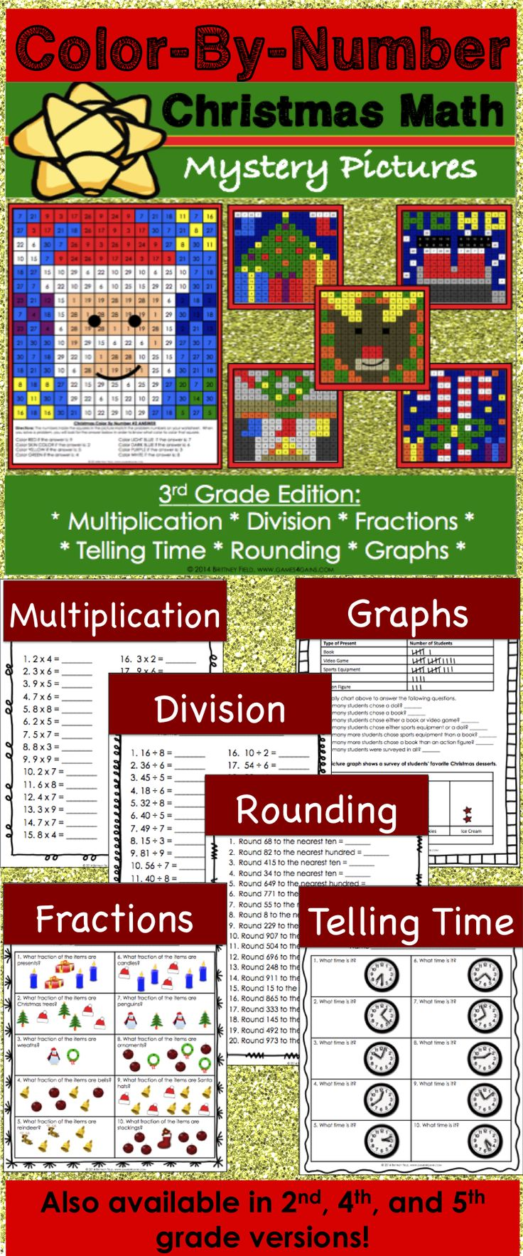 Christmas math activity (Color by Number) for 3rd grade makes practicing multiplication, division, rounding, fractions, telling time, and graphs fun! Included are 6 different Christmas color by number math activities. Each activity addresses a different 3rd grade math skill.