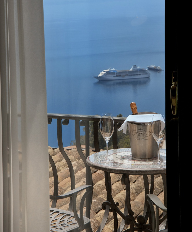 Amazing sea view from the room at Villa Ducale Boutique hotel in Sicily