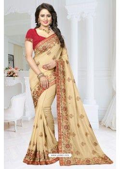 10f99ba919 Cream Fancy Soft Silk Designer Saree | Designer sarees | Soft silk ...
