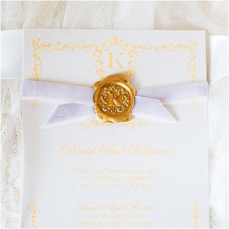 custom wedding invitations nashville%0A Gold  metalic screenprint on ivory invitation suite wrapped in purple  velvet ribbon  u     sealed with a custom wax seal  Custom made by English Tea  Paperie