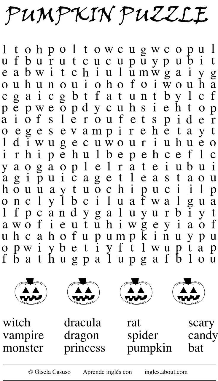 5 juegos de halloween para aprender inglés: Haunted Wordsearch (la sopa de letras embrujada)