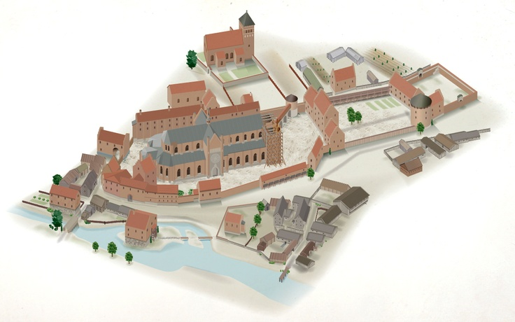 Reconstruction of the medieval town Uppsala, Sweden.