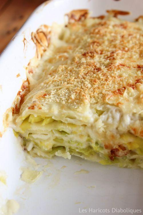 Lasagnes de ravioles au chèvre et aux poireaux