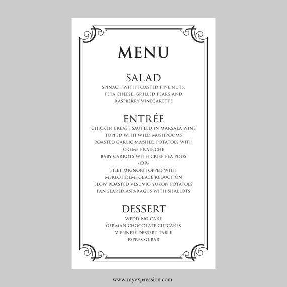 Indian Wedding Food Menu Samples: Wedding Menu Card Template