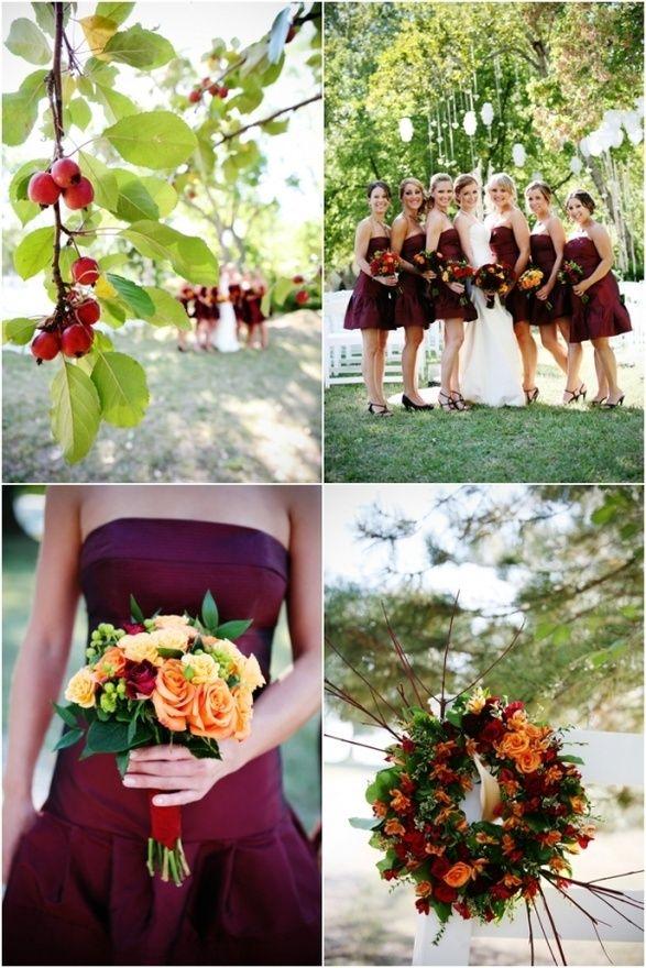 Burgundy fall wedding colour fall wedding ideas for Fall wedding dress colors