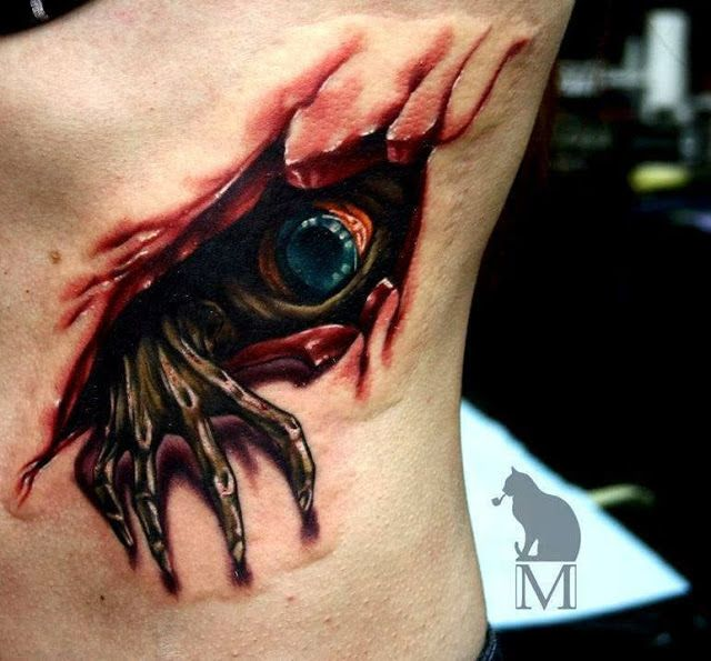 3D Spooky Creature Tattoo On Chest  Tattoos Ink Body