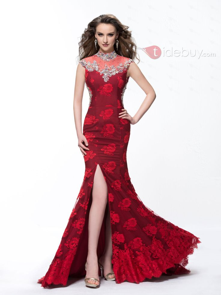 Charming Lace High-Neck Mermaid Backless Beading Floor Length Evening Dress : Tidebuy.com