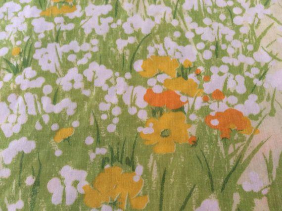 Full Flat Floral Sheet  Green Ferns  Orange Yellow by mushroommary