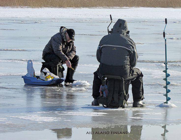 Ice fishing, Vanhankaupunginlahti Helsinki by Aili Alaiso