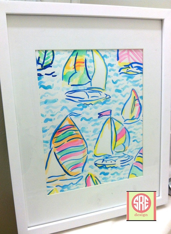 SALE! Hand Painted Water Color inspired by Lilly Pulitzer ...