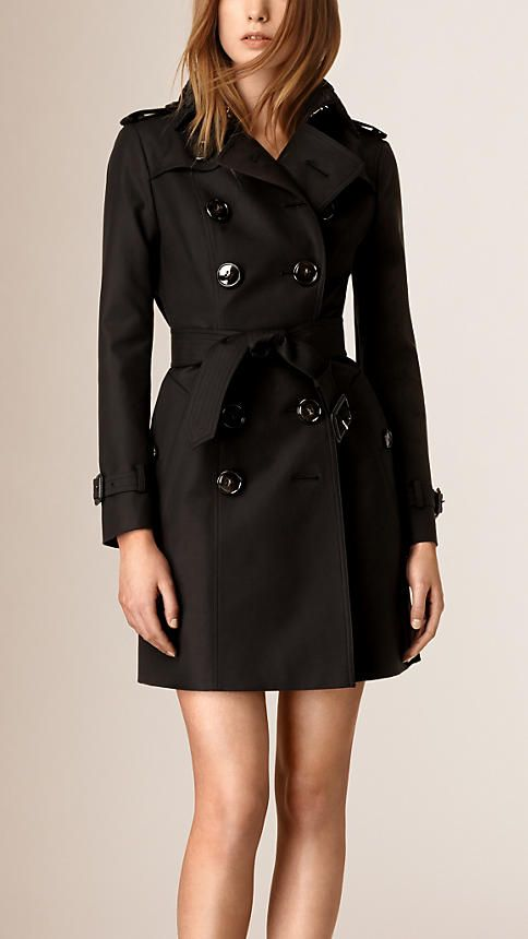 BURBERRY, Black Lace Topcollar Stretch Cotton Trench Coat -