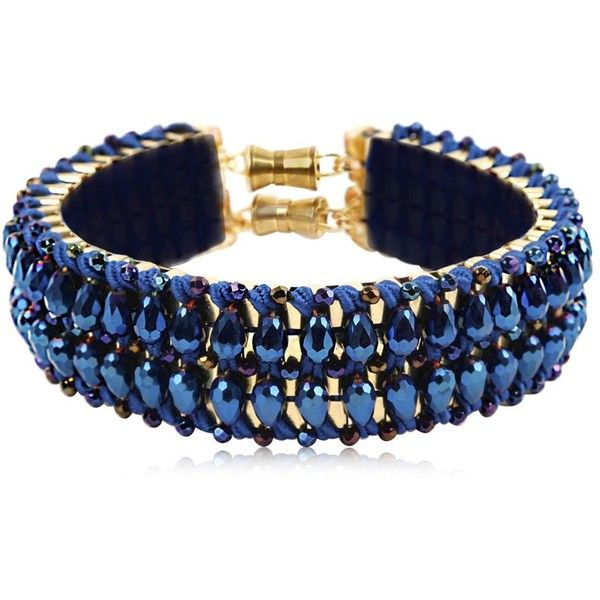 Only Child London Women Blue Flash Crystal Collar ($635) ❤ liked on Polyvore featuring jewelry, necklaces, woven necklace, blue necklace, cord necklace, magnetic necklace and magnetic jewelry