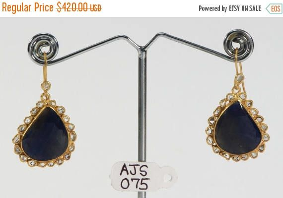 Acme Jewels Mothers Day Sale 40%Off Antique style Dangle Hook Earrings with Blue Sapphire & Diamonds