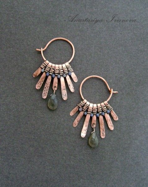 .Cool hoop earrings with hammered wire dangles