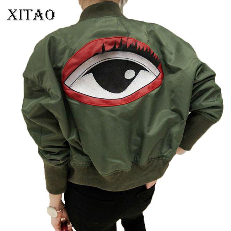 >> Click to Buy << [XITAO] 2016 NEW autumn Korea fashion women loose personality eye pattern army green jacket female stand collar jacket  SJHE004 #Affiliate