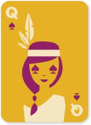 NATIVE CARDS indian graphic design modern typography clean illustration playing cards queen native american