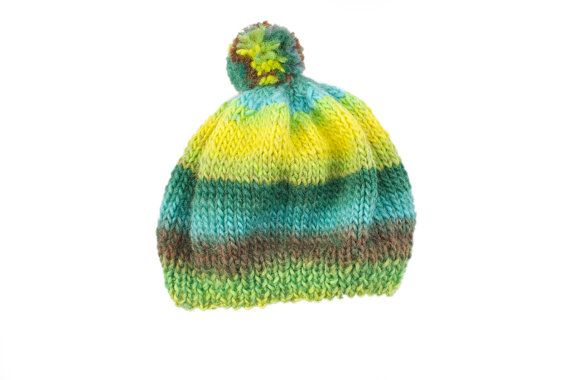 Baby boy green hand made hat organic wool perfect for 2 years old boy
