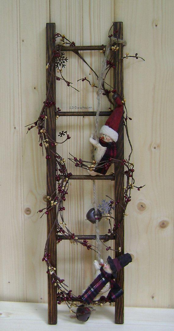 Wooden Primitive Christmas Ladder on Etsy, $38.00