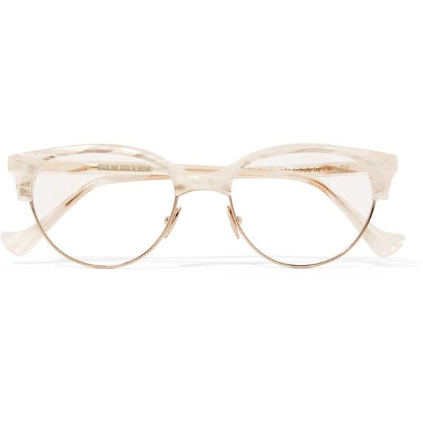 Cutler and Gross Cat-eye acetate and rose gold-tone optical glasses featuring polyvore, women's fashion, accessories, eyewear, eyeglasses, white cateye glasses, white glasses, acetate eyeglasses, acetate glasses and retro cat eye glasses