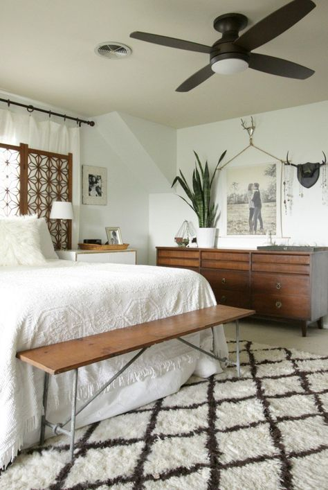 modern ceiling fan in eclectic bedroom - Primitive and Proper