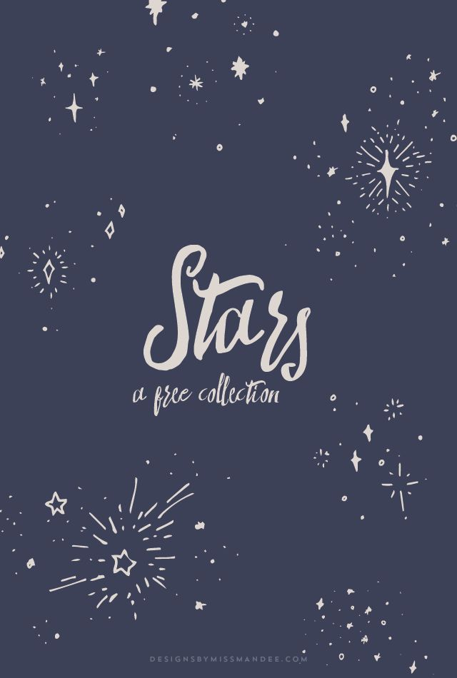 Star Collection - Designs By Miss Mandee. This free collection of star motifs is just perfect. Great for nursery designs, pattern elements, or as a background texture. Easily create your own night sky!