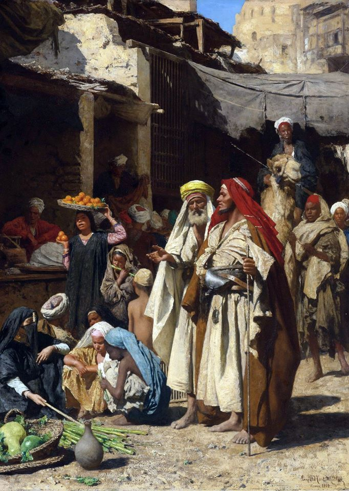 A Street Scene , Cairo 1880  By Carl Leopold Müller - Austrian , 1834 – 1892  Oil on panel , 92 cm x 66.3 cm