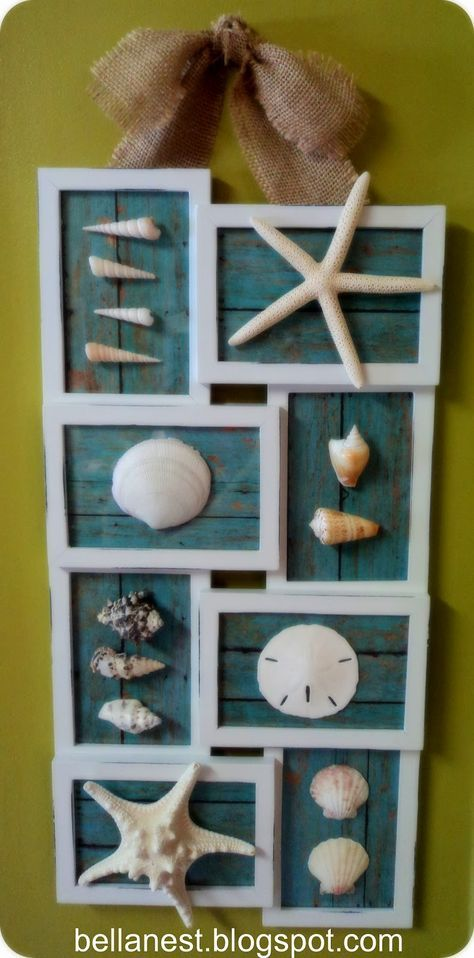Show off your seashells! Picture frame from walmart - just paint and add in some cute scrapbook paper