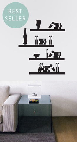 Place the sticky and funky  shelves your own way on your wall and decorate them with sticky books and other decorative objects…  Shelf dimension: 100cm wide and 5cm high