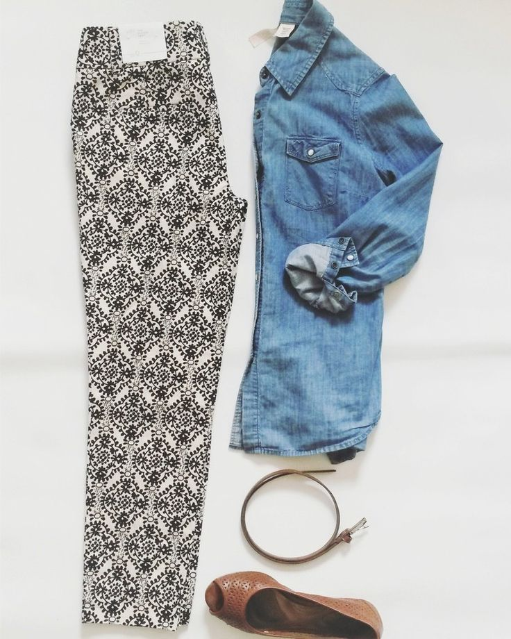 Ann Taylor LOFT pants (new with tag),Walmart denim shirt, cognac belt and shoes, all thrifted outfit of the day for sale at Jupe du Jour