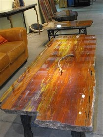 Petrified wood coffee table.