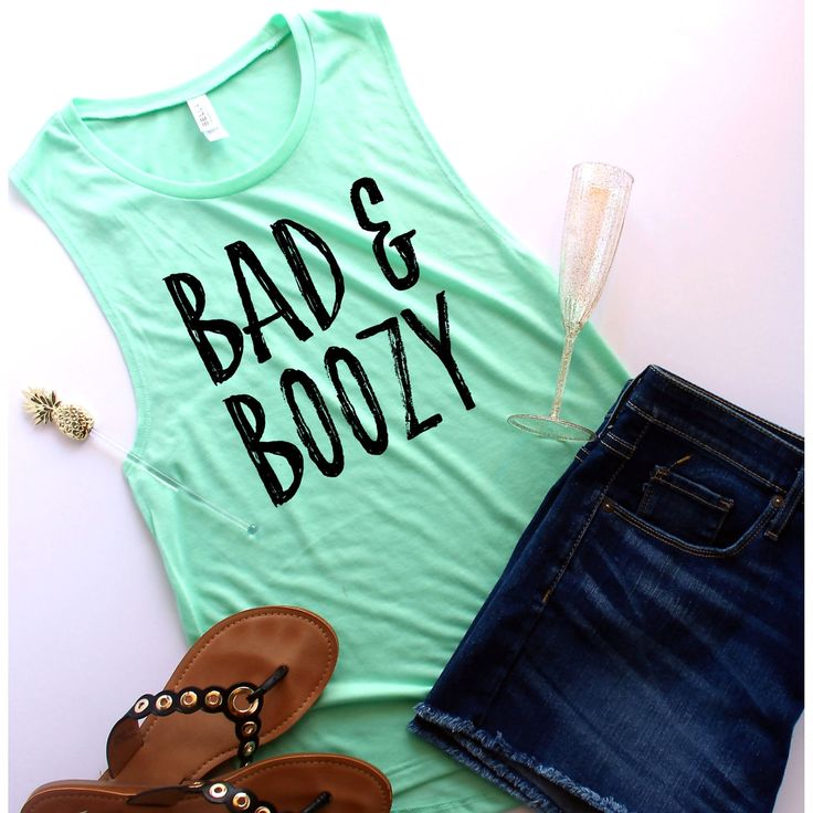 Bad and Boozy Muscle Tank, Customize Your Colors, S-XL, Workout Tank, Champagne, Champagne Shirt, Brunch Shirt, Mimosa Shirt by ShopatBash on Etsy