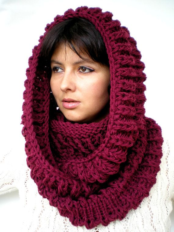 Burgundy Red Circle Scarf Soft Wool Neckwarmer Unisex Fashion Chunky Circle Scarf NEW Gift Under 75