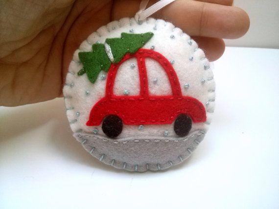 Felt Car ornament Christmas Car ornament Felt Car by DusiCrafts