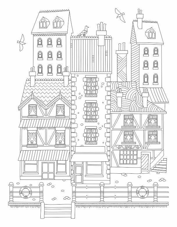 756 best Adult Colouring Buildings Houses