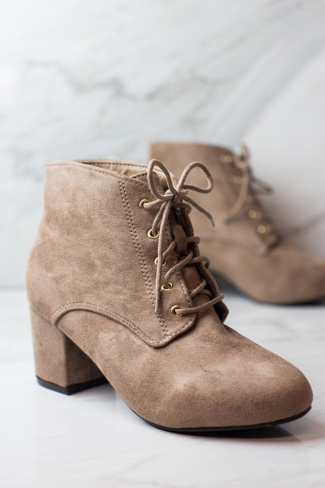 Chic and versatile, this shoe is absolute perfection! This gorgeous lace-up bootie with a faux suede material is perfect for any city chic girl who loves a stylish shoe. Pair these beauties with your favorite skinny jeans or flowy dress for a beautiful ensemble you can look and feel great in.