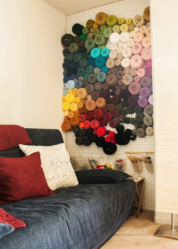 Peg Board Yarn Storage Idea -- http://knitsforlife.com/2013/03/26/the-worlds-best-yarn-storage-idea/#