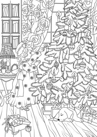 A Little Girl is Decorating a Christmas Tree coloring page from Christmas Tree category. Select from 26202 printable crafts of cartoons, nature, animals, Bible and many more.
