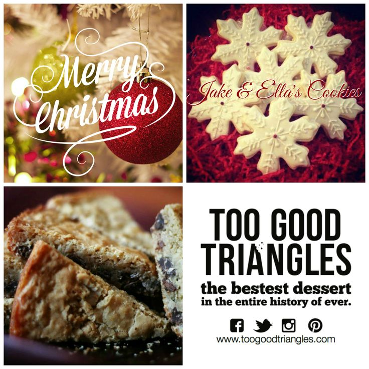 TGT CHRISTMAS CONTEST * Contest closes at 4pm and runs on FB, IG, Pinterest & Twitter. Includes 6 cookies from Jake & Ella's Cookies and ONE #free batch of #Classic TGT, #GlutenFree TGT OR #Vegan/#GF TGT is up for grabs. How to enter: Repin this photo with #iloveTGT and a comment and then stay tuned to see if you won! Winner will be announced today (Wednesday) by 4:30pm. Good luck, #sweetlings! www.toogoodtriangles.com #tgt #toogoodtriangles #contest #dessert