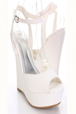 White Faux Leather Peeptoe Ankle Buckle Platform Wedges