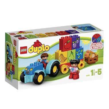 LEGO DUPLO mijn eerste tractor 10615  Bouw de LEGO DUPLO mijn eerste tractor en kom spelenderwijs meer te weten over kleuren en fruitsoorten met de speciaal bedrukte stenen. Inclusief 2 LEGO DUPLO kinderfiguren. LEGO-nr. 10615  EUR 15.99  Meer informatie