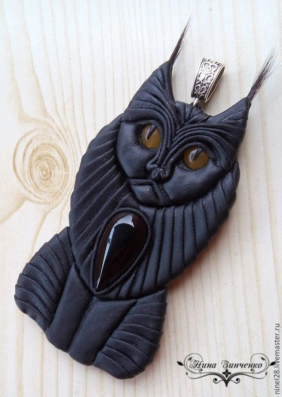 """Купить Подвеска из кожи с камнями """"Чёрный кот"""" - черный, кулон из кожи купить"""