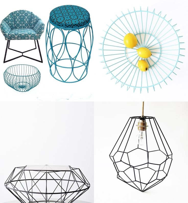 Wire  Stools Chairs Bowls & Lamps