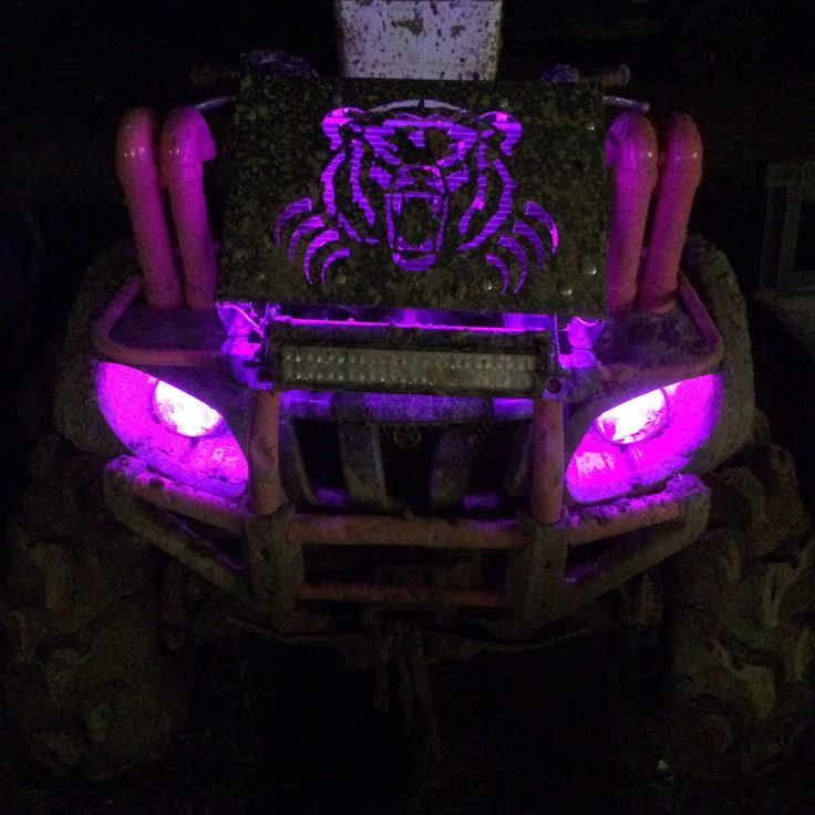 My '03 Yamaha Grizzly 660 with pink LED lights that my hubby installed under my radiator relocator kit & headlights.  If you or someone you know is good at doing electrical work on vehicles/ATV's, go getcha some on Ebay! They run about $15-$20 per 15' & come in all different colors! Even better is that they only took under an hour to install!