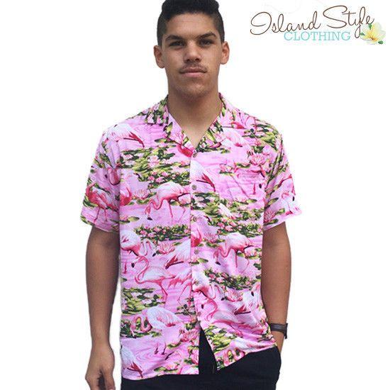 cfcbe7dbb695eb Details about Pink Flamingo Loud Mens Hawaiian Shirts in 2019 ...