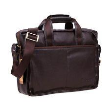 """Men's Genuine Leather Messenger Shoulder Bag Briefcase Handbag Fit 14"""" Laptop"""